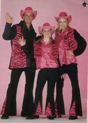 """Disco kostuum rose  """" Tijgerprint met zwart """""""