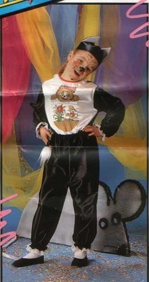 """Poezen kostuum """" Zwart / wit """"  met print"""