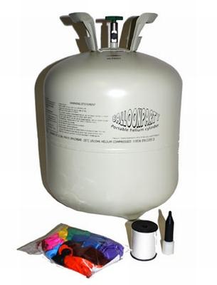Heliumfles voor 30 ballonnen  incl. gekleurde ballonnen