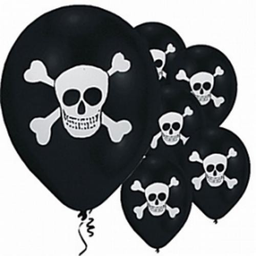 """Ballonnen  """"  Zwart met doodshoofd """" piraat"""