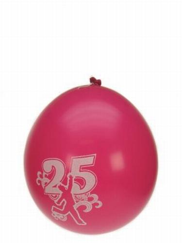 "Ballonnen  "" Hoera 25 jaar "" set van 8 stuks"