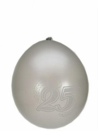 """Ballonnen 8 stuks """" 25 jaar """"  Zilver"""