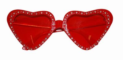 Rode hartjes bril met glitter