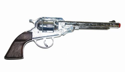 """Klapper pistool  """" 8 schots """"  Zilverkleurig"""