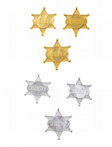 "Sheriff ster  "" Plastic ""  set van 6 stuks"