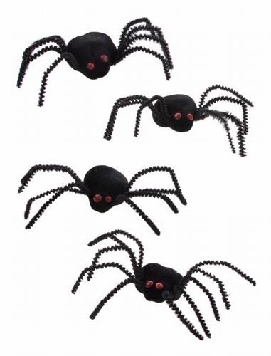 4 Spinnen zwart