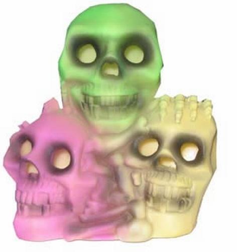 3 Skelet hoofden met licht   gekleurd