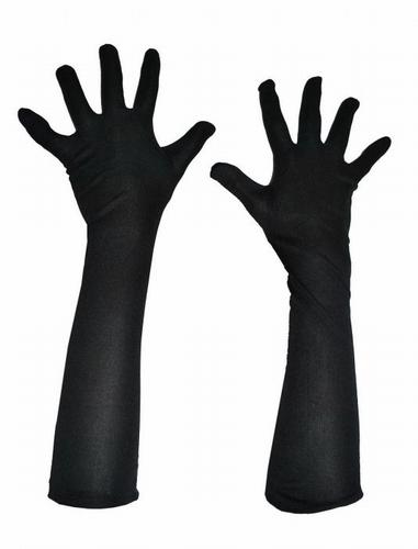 """Satijn handschoenen  """" 40 cm """"  Zwart"""
