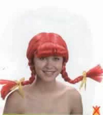 """Pruik  """" Heidi  """"  Oranje / rood"""