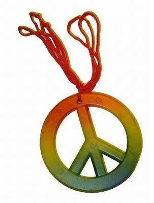 """Ketting  """" Peace """"  Rood / geel / groen"""