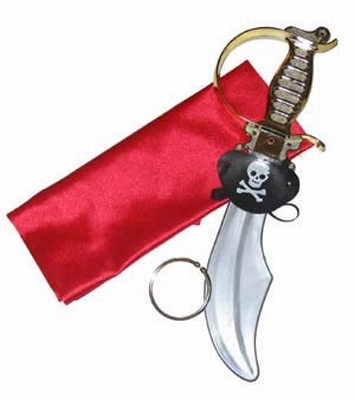 Piraten zwaard + ooglap + hoofddoekje + oorbel