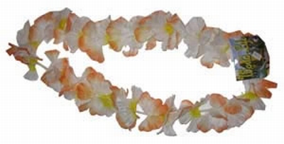 "Hawaii krans  "" Oranje / wit """