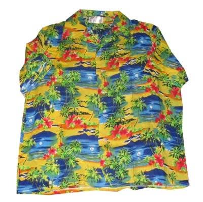 "Hawaii blouse  "" Geel / blauw / groen """