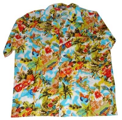 "Hawaii blouse  "" Blauw / rood / wit / groen """