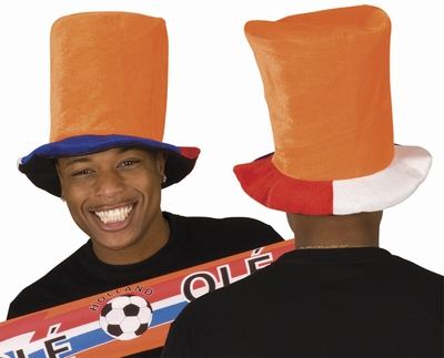 "Hoge hoed oranje  "" Rood / wit / blauw rand """