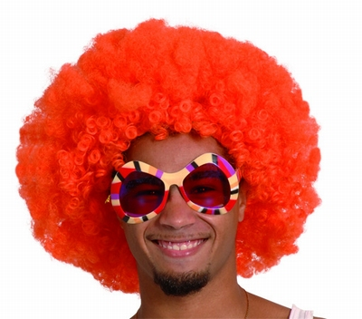 "Afro pruik  "" Oranje """