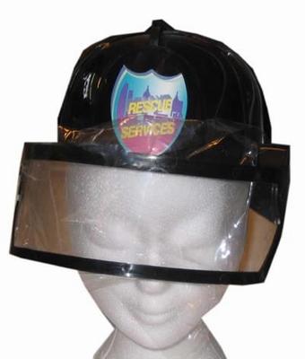 "Brandweer helm met klep  "" Zwart """