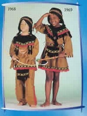 """Indianen kostuum  """" Bruin / zwart """""""