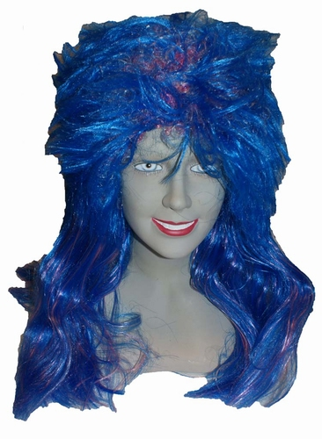 """Pruik lang haar """" Blauw """""""