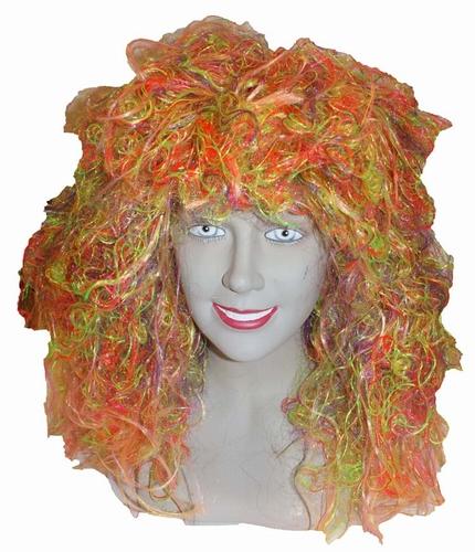 """Pruik lang haar  """" Oranje / rose / groen / geel """""""