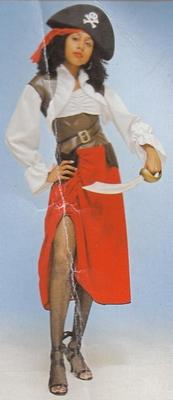 "Piratenvrouw   "" Wit / rood """