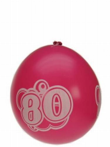 """Ballonnen  """" 80 jaar """" set van 8 stuks"""
