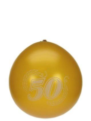 """Ballonnen  """" 50 """" Goud,  set van 8 stuks"""