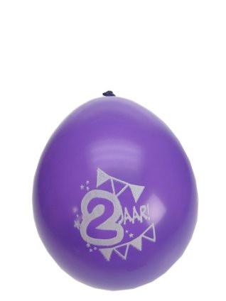 "Ballonnen  "" Hoera 2 jaar "" set van 8 stuks"