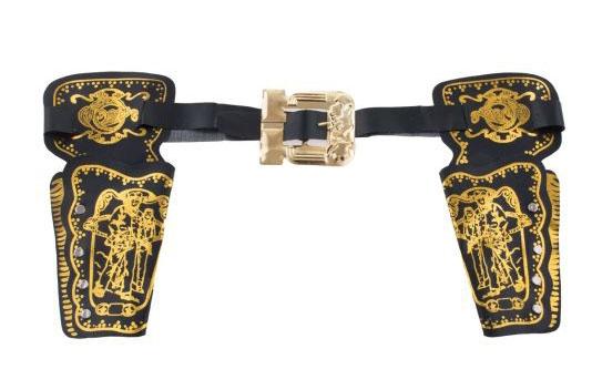 Cowboy dubbele holster zwart met goudkleurige print