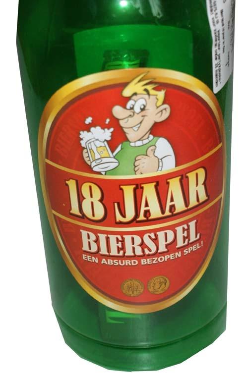 """Drankfles met bierspel  """" 18 jaar """""""