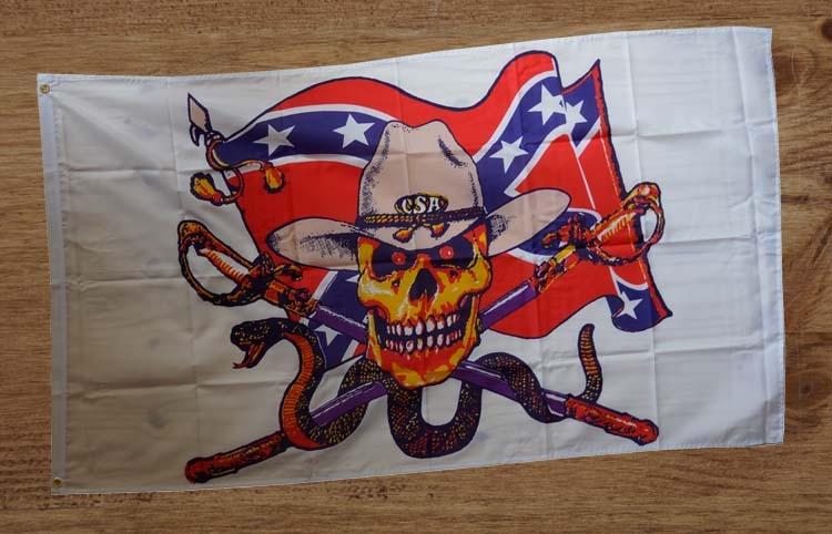 """Gevelvlag """" Rebelvlag, skelet cowboy hoed, slang """""""