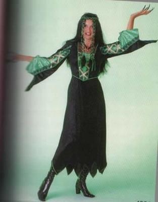 Gothic jurk   groen / zwart