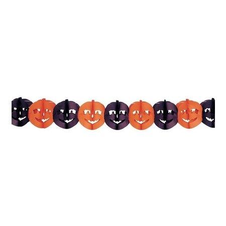 "Guirlande slinger  "" Halloween pompoen ""  Oranje / zwart"