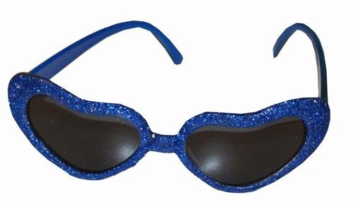 """Hartjes bril  """" Glitter """"  Blauw"""