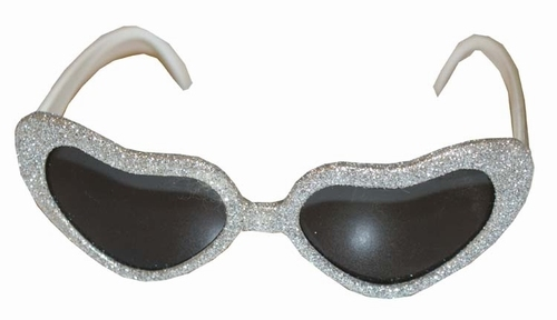 """Hartjes bril  """" Glitter """"  Zilver"""