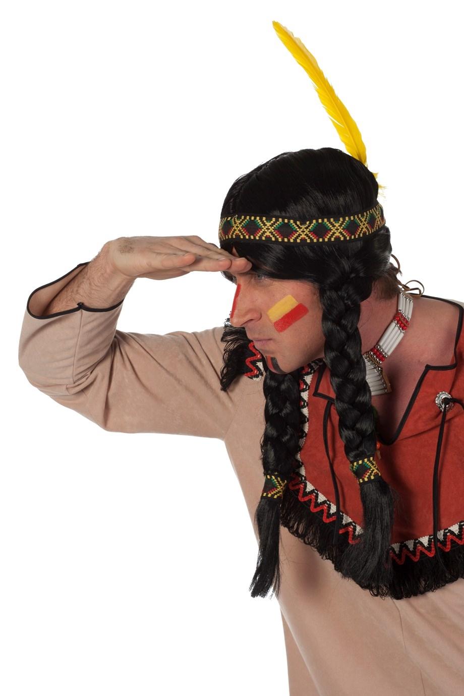 """Indianen pruik  """" Vlechten """""""