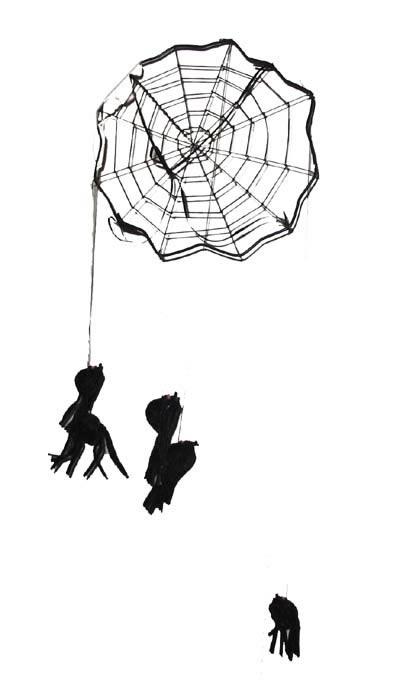Mobiel met spinnen er aan
