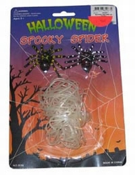 Neon spinnenweb met spinnen