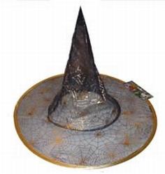 """Heksen hoed  """" Doorzichtig Zwart / goud """""""