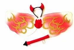 Duivel set  ' Vleugels + diadeem + staart