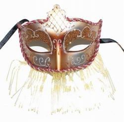"""Venetiaanse oogmasker met kraaltjes """" Rood / zilver"""""""