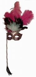 """Venetiaanse oogmasker met stokje """" Rose / zilver"""""""