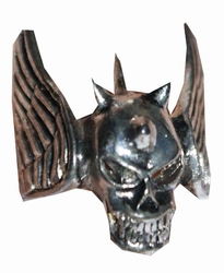"Gothic ring  "" Doodshoofd met vleugels  "" ( 1 )"