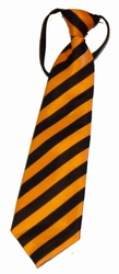 "Stropdas  "" Zwart / oranje ""  Gestreept"