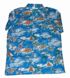 "Hawaii blouse  "" Blauw / wit """