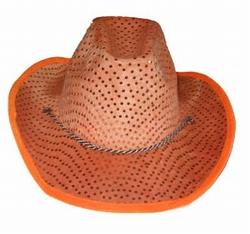 """Cowboyhoed  """" Pailletten """"  Oranje"""