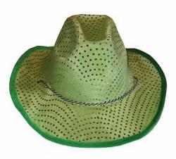 """Cowboyhoed  """" Pailletten """"  Groen"""