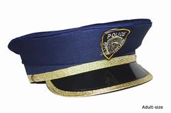 """Politie pet  """" Blauw / goud biesje """""""