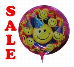 "Folie ballon  "" Smilleys met feesthoed ``"