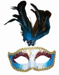 """Venetiaanse oogmasker met veren  """" Blauw / goud """""""